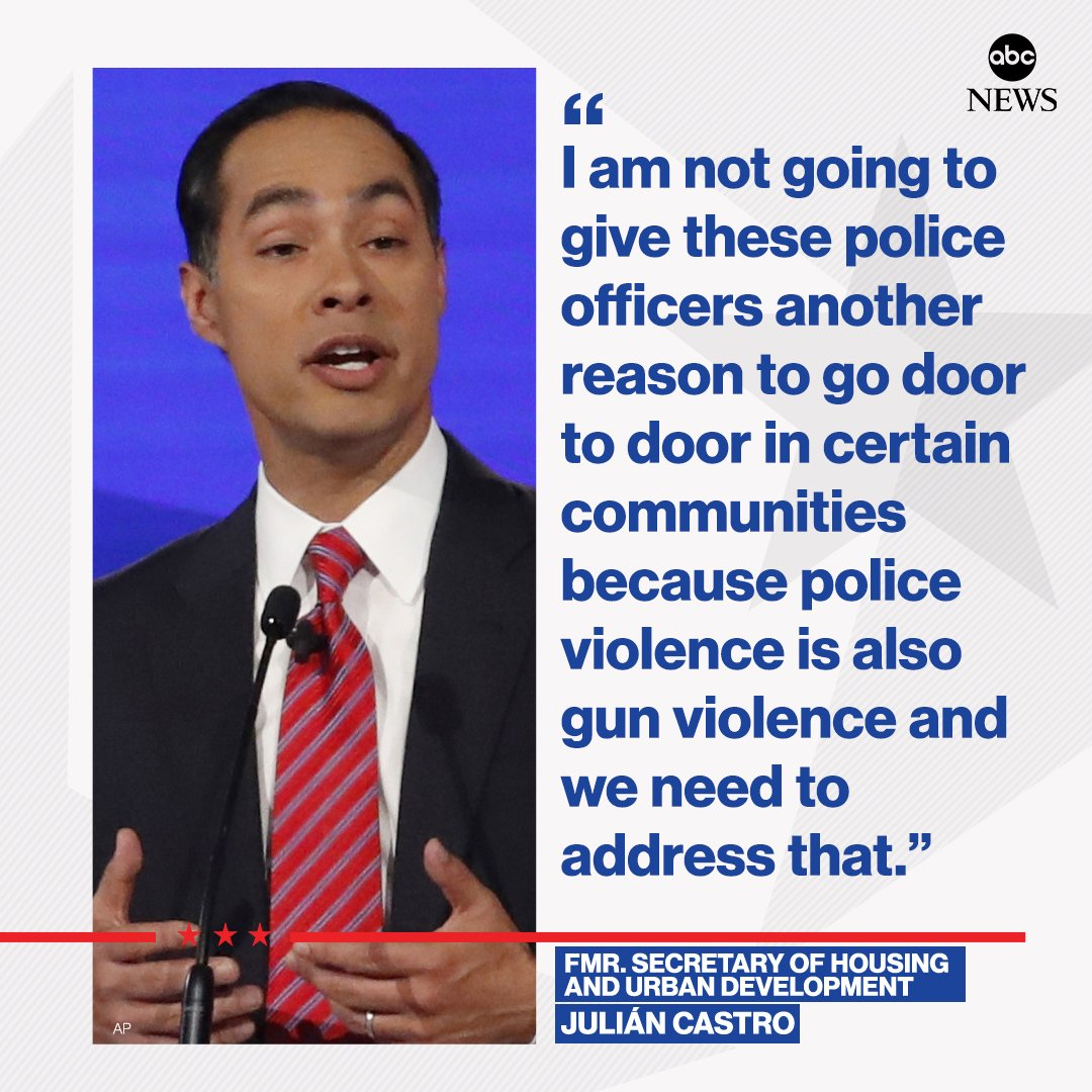 """Julián Castro criticizes mandatory gun buyback proposal: """"In the places I grew up in, we weren't exactly looking for another reason for cops to come banging on the door.""""  http:// abcn.ws/31kRHlU     #DemDebate<br>http://pic.twitter.com/Gomc6bKnFm"""