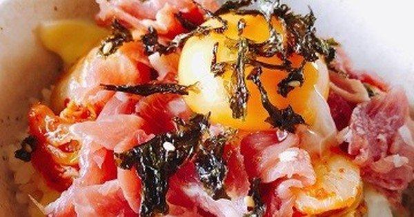 ご飯の上に乗せるだけ!爆速絶品メシ「生ハム丼」でランチの新たな扉を開こう: 丼の中で、ご飯と生ハムが出会ってしまったら……。衝撃の爆速絶品メシが誕生する瞬間です。