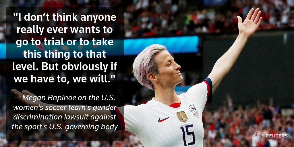 Soccer standout Megan Rapinoe tells @Reuters she's 'optimistic' that she and her fellow players can reach an agreement in their gender discrimination suit against U.S. Soccer, but that they're also ready for a fight https://reut.rs/33APzIA