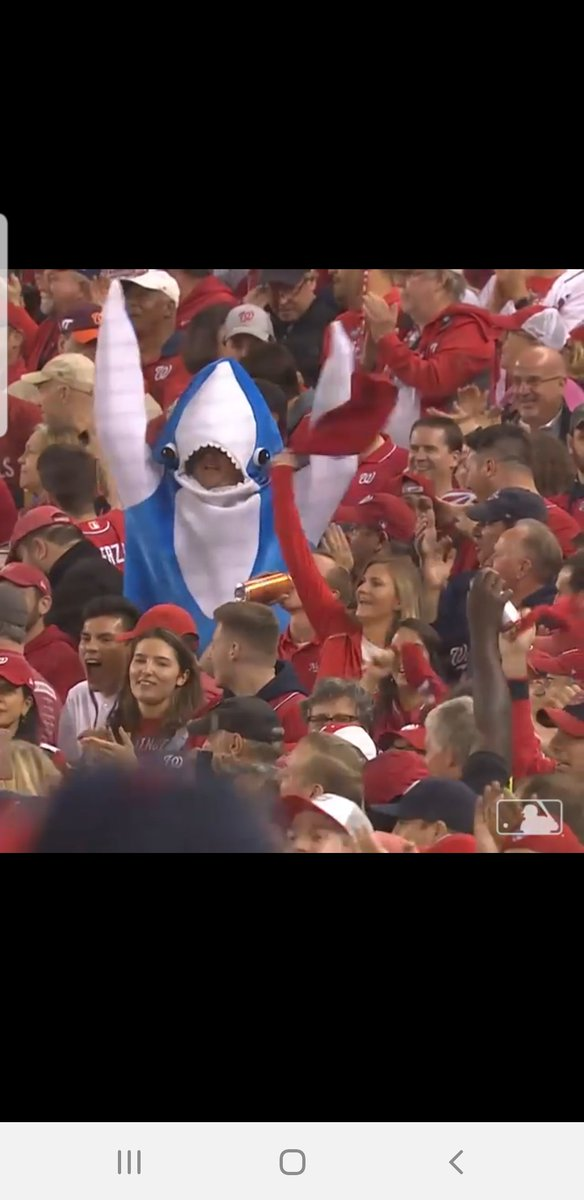 Can we talk about this @Nationals fan at the #NLCS game in a left shark costume and how he's the new Marlins Man? 😂😂