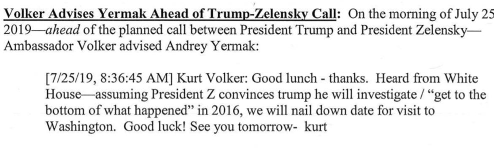 Noteworthy from the texts Congress released tonight: Volker seems to have known before the July 25 call that Trump would raise the debunked Crowdstrike conspiracy theory. It wasn't a spur of the moment Trump add. It was orchestrated and coordinated from the start.
