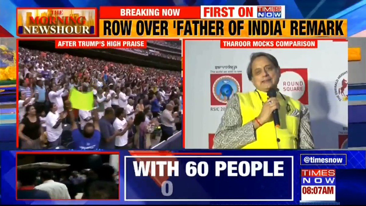 Watch: Congress MP @ShashiTharoor mocks U.S President @realDonaldTrump's 'Father of India' remark about PM Modi. TIMES NOW's Govind Singh with more details. Listen in.