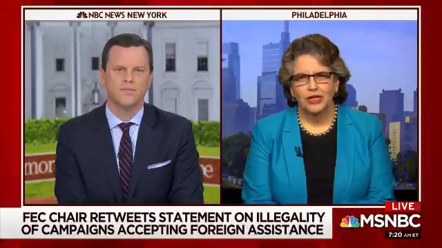 The law is pretty clear, Willie: It is absolutely illegal for anyone to solicit, accept or receive anything of value from a foreign national in connection with any election in the United States. -- @EllenLWeintraub to @WillieGeist