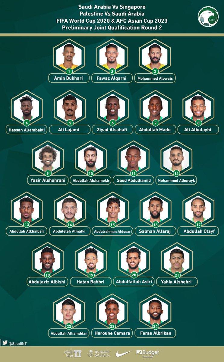 Players list Singapore & Palestine @SaudiNT @saudiFF