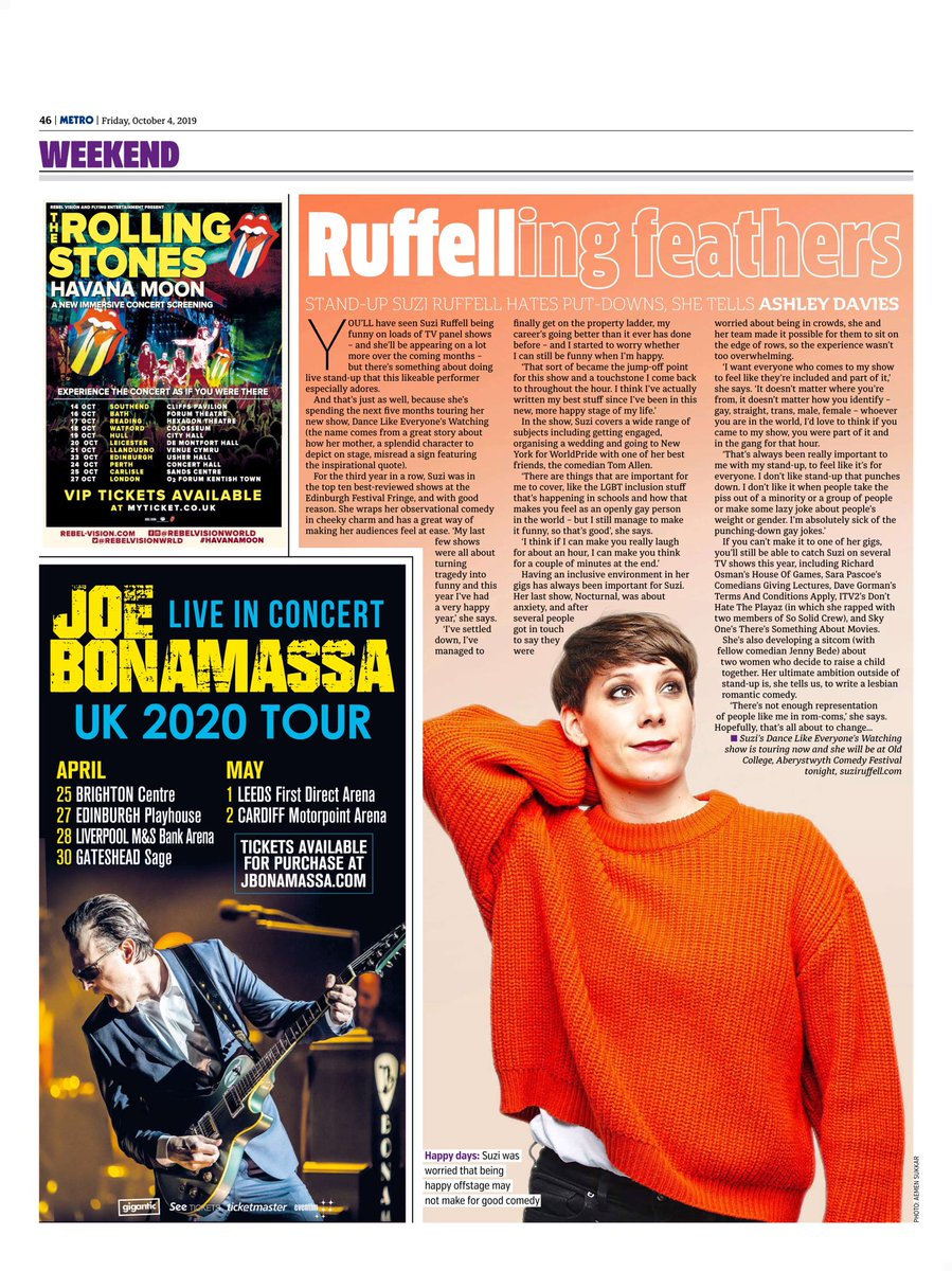 In today's Metro today chatting about stand up and my tour.