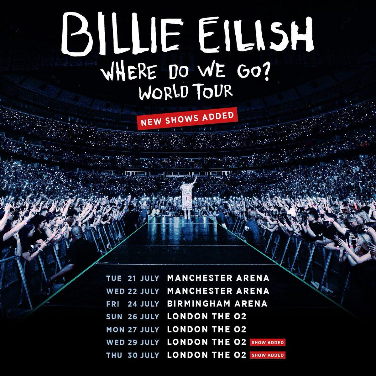 #BillieEilish Where Do We Go UK Tour, 21-30 July 2020  Tix {https://fave.co/2mwmM81}  #affiliate #BritAwards2020 #BRITs #ticketmaster #BRITsAT40 #birmingham #london #billieeilishtickets #Londonislovinit #notimetodie #jamesbond #Brits2020 #Londonislovinit