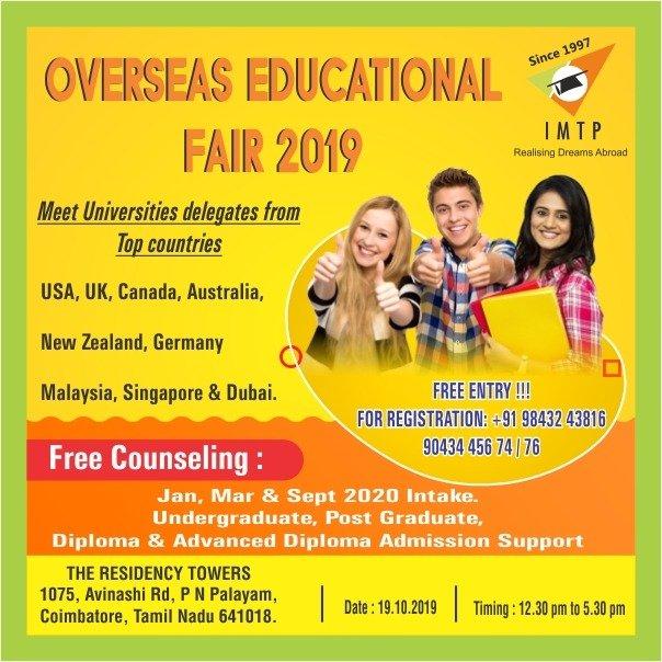 Attend IMTP Study Abroad Education Fair 2019 Visit us : http://bit.ly/2pxqhMv  #fridayfeeling #educationfair2018 #educationfair2019 #imtp #usa #uk #canada #australia #newzealand #germany #malaysia #singapore #dubai #overseaseducationalfair #topuniversities #admission #diplomapic.twitter.com/4nccX8oL0S