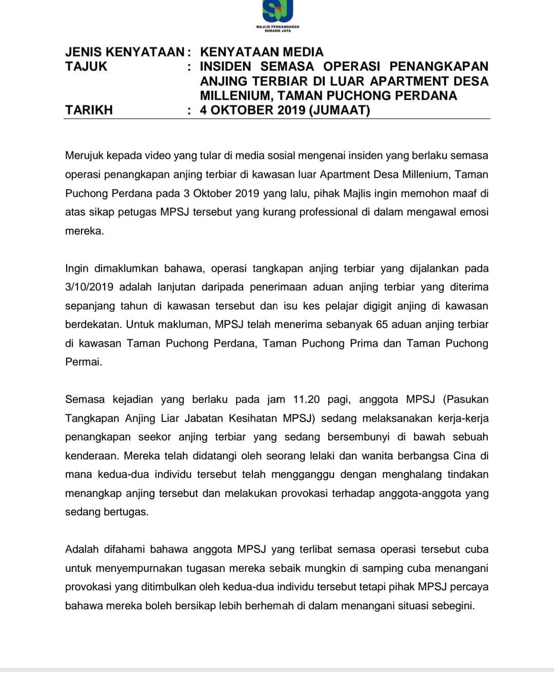 Majlis Perbandaran Subang Jaya On Twitter Kenyataan Media Mengenai Insiden Semasa Operasi Penangkapan Anjing Terbiar Di Luar Kawasan Apartment Desa Millenium Taman Puchong Perdana Https T Co Ekofldw9c7
