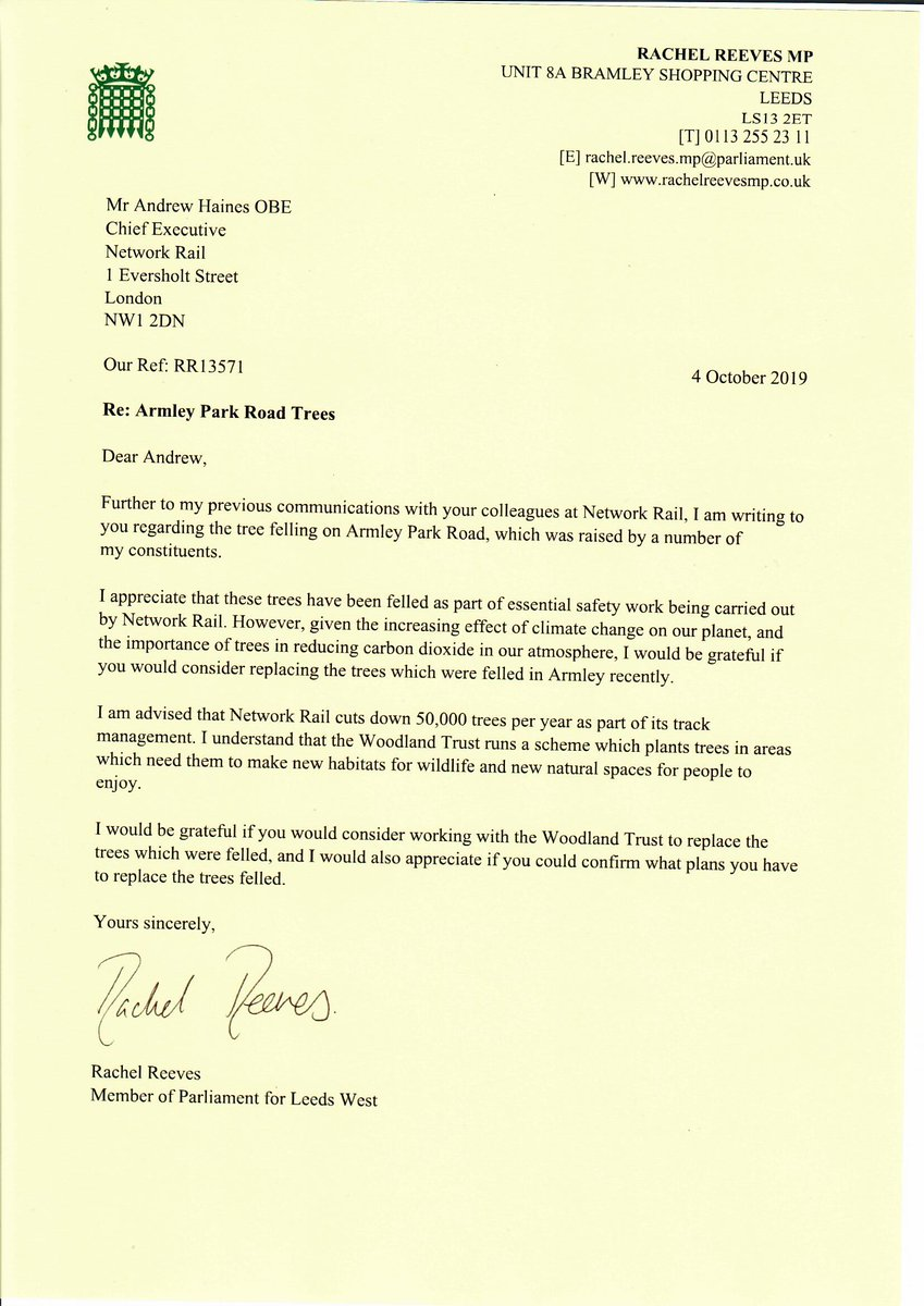 Ive written to Network Rail to ask that they work with the @WoodlandTrust to replace the trees felled in Armley recently.