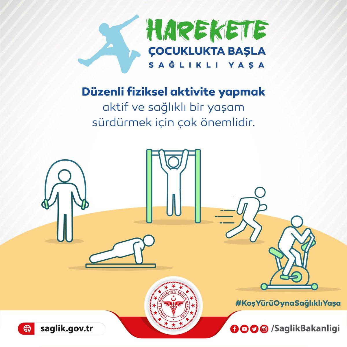 Düzenli fiziksel aktivite yapmak çocukların sağlıklı büyümesi, gelişmesi, hastalıklardan korunması, aktif ve sağlıklı bir yaşam sürdürmesi için çok önemlidir. #KoşYürüOynaSağlıklıYaşa