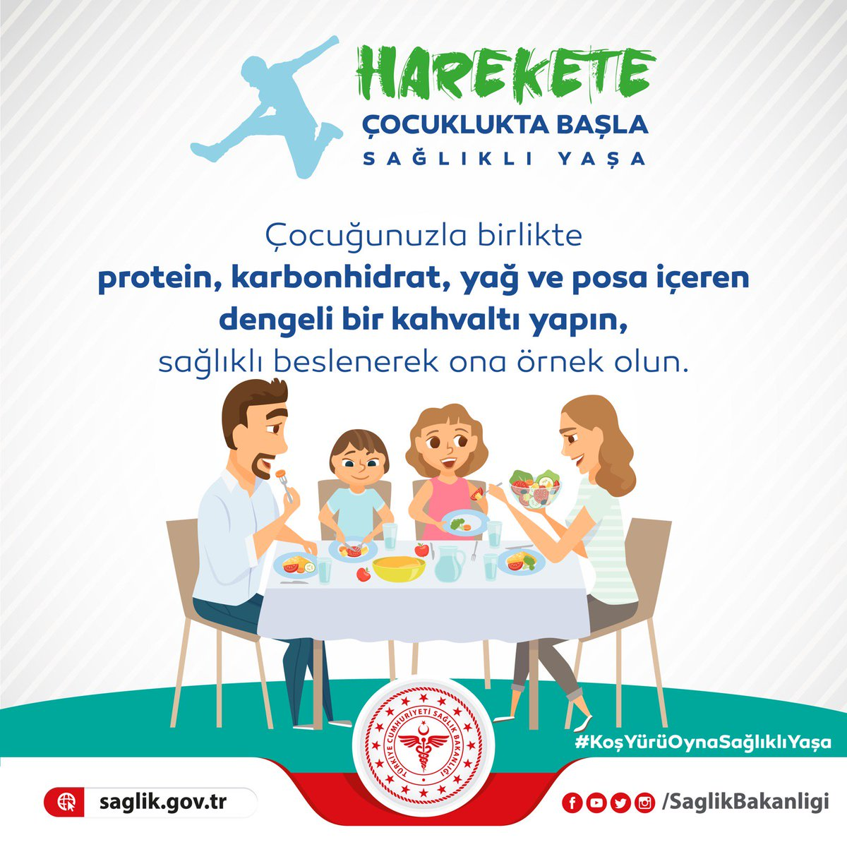 Çocukluk çağında obeziteyle mücadelede aile iş birliği oldukça önemlidir. Çocuğunuzla birlikte protein, karbonhidrat, yağ ve posa içeren dengeli bir kahvaltı yapın, sağlıklı beslenerek ona örnek olun. #KoşYürüOynaSağlıklıYaşa