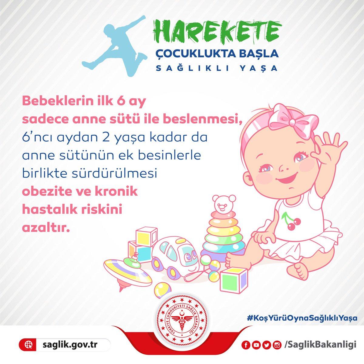Bebeklerin ilk 6 ay sadece anne sütü ile beslenmesi, 6'ncı aydan 2 yaşa kadar da anne sütünün ek besinlerle birlikte sürdürülmesi obezite ve kronik hastalık riskini azaltır. #KoşYürüOynaSağlıklıYaşa