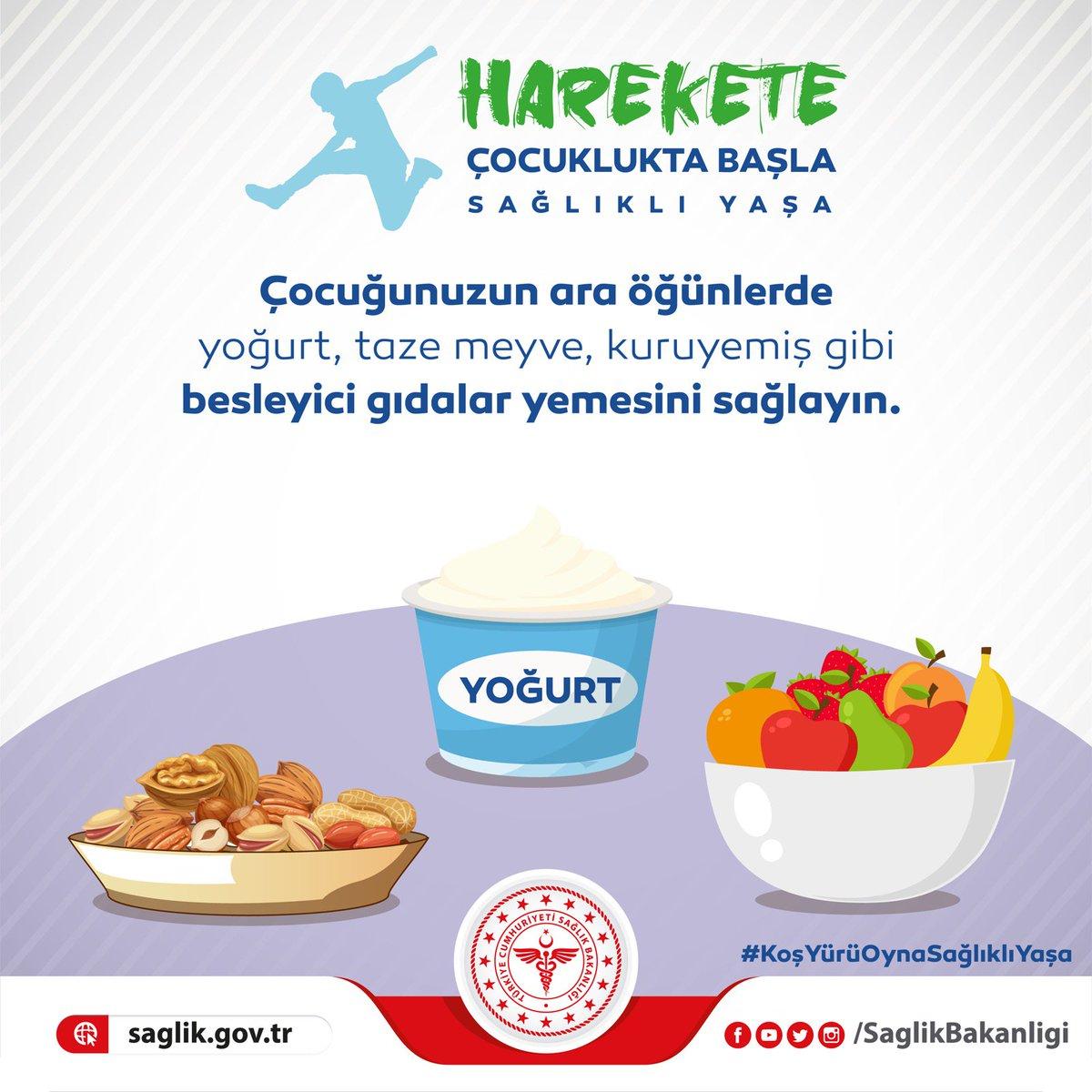 Çocuğunuzun ara öğünlerde yoğurt, taze meyve, kuruyemiş gibi besleyici gıdalar yemesini sağlayın. #KoşYürüOynaSağlıklıYaşa
