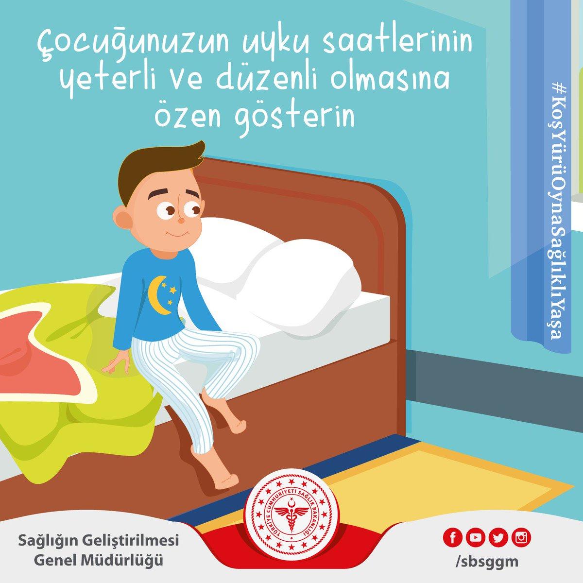 Yeterli sürede ve düzenli uyumak organların ve sistemlerin sağlıklı çalışmasını destekler. Çocuğunuzun uyku saatlerinin yeterli ve düzenli olmasına özen gösterin. #KoşYürüOynaSağlıklıYaşa