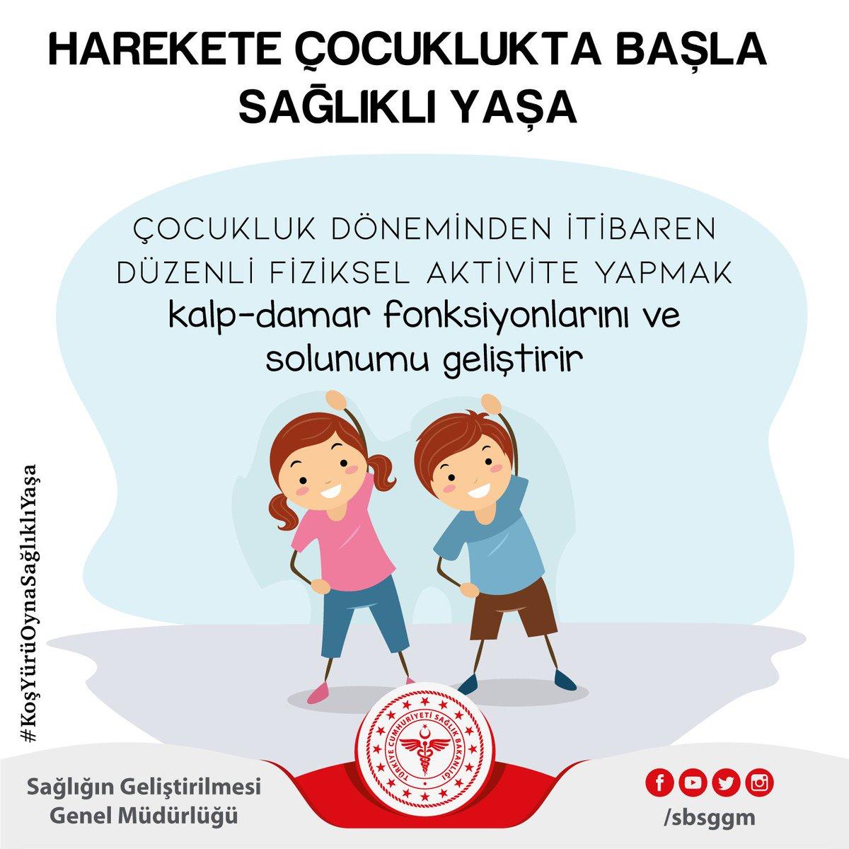 Çocukluk döneminden itibaren düzenli fiziksel aktivite yapmak kalp-damar fonksiyonlarını ve solunumu geliştirir. #KoşYürüOynaSağlıklıYaşa