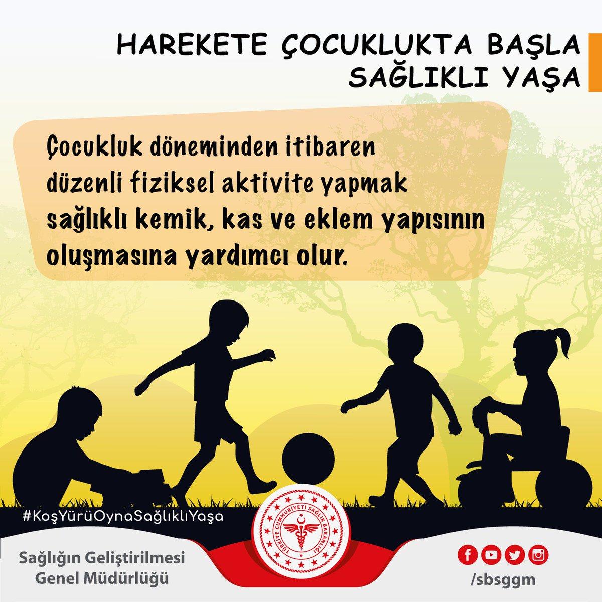 Çocukluk döneminden itibaren düzenli fiziksel aktivite yapmak sağlıklı kemik, kas ve eklem yapısının oluşmasına yardımcı olur. #KoşYürüOynaSağlıklıYaşa