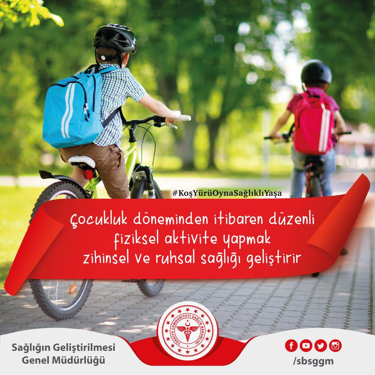 Çocukluk döneminden itibaren düzenli fiziksel aktivite yapmak zihinsel ve ruhsal sağlığı geliştirir. Harekete çocuklukta başla, sağlıklı yaşa. #KoşYürüOynaSağlıklıYaşa