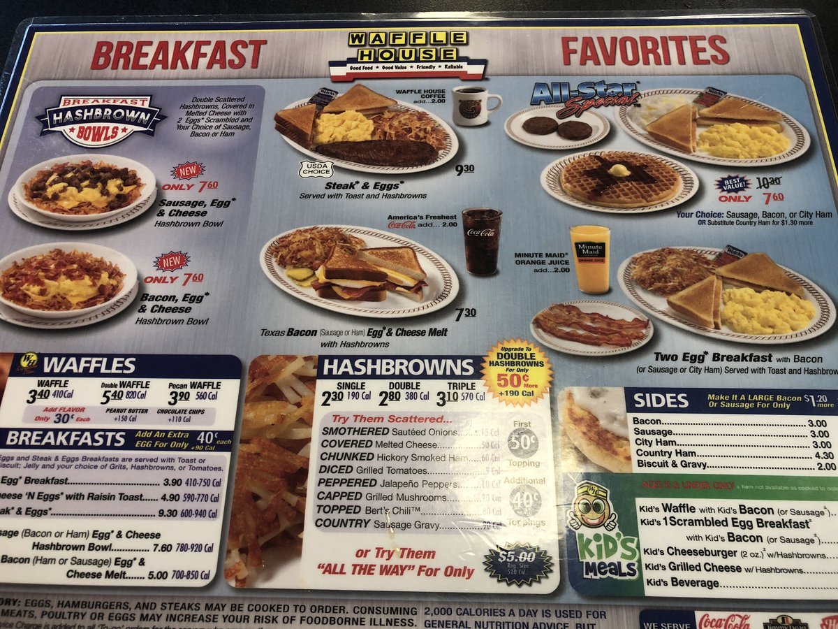 I need 2 things Fri morn: a break from the news (same stuff anyway) and bfst from one & only @WaffleHouse YES!