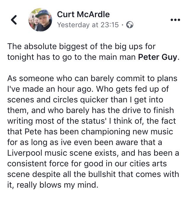 After a crap week of wellness. This post just cheered me up no end. Big up Curt - one of the OG's in the North West music blog game so this means a bunch. 💙