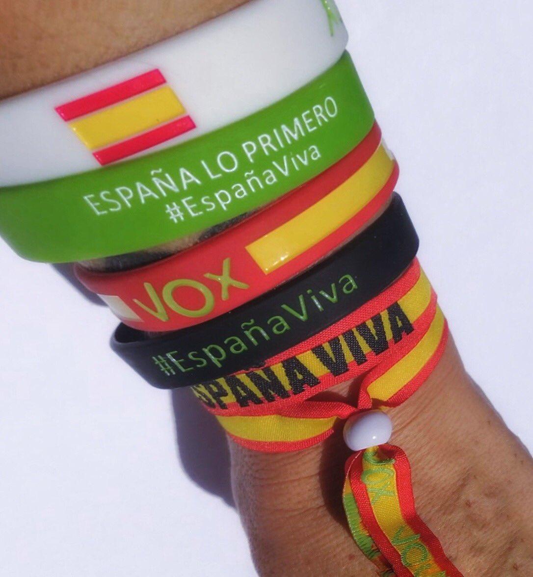 BANDERA ESPAÑA MÁXIMA CALIDAD 5 PULSERAS VOX VERDE