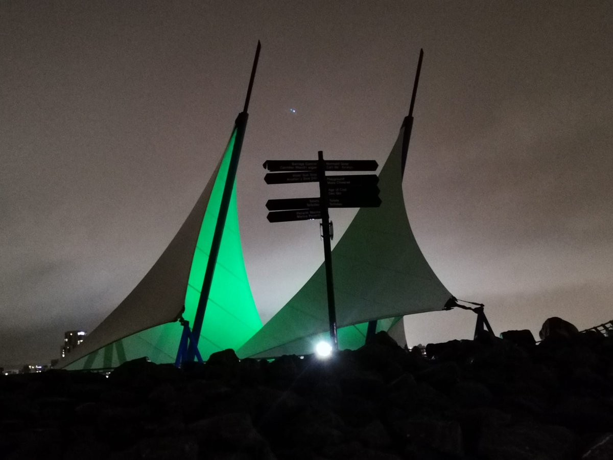 Nessy on Twitter: HUGE thanks to @VisitCardiffBay for supporting #GOGreenfordyslexia! The Barrage sails look incredible lit up!   Don't forget to share how you're GOing Green!…