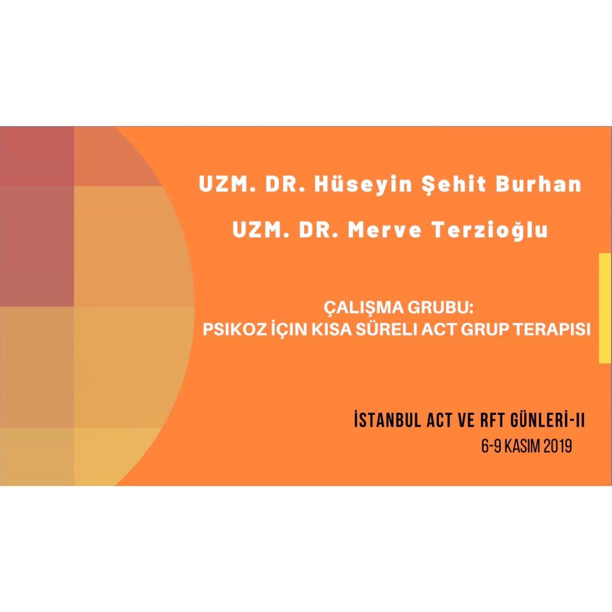 """Uzm.Dr. Hüseyin Şehid Burhan ve Uzm. Dr. Merve Terzioğlu """"Psikoz için Kısa Süreli Act Grup Terapisi""""çalışma grubuyla ACT ve RFT Günleri-II' de! Hepinizi bekliyoruz 🌟 Ayrıntılı bilgi için:http://www.actgunleri2019.org #act #rft #kabulvekararlılıkterapisi #acceptanceandcommitmenttherapy"""