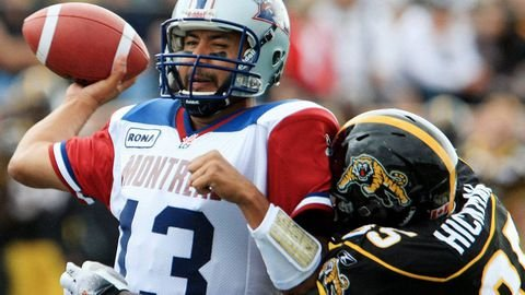 This date in #Alouettes history: Anthony Calvillo sets franchise record for completions in a game (44), but the Als lose 44-38 in Hamilton. Calvillo had 472 yards passing, 4 touchdowns (Richardson x2, Cahoon x2) and one interception in the loss