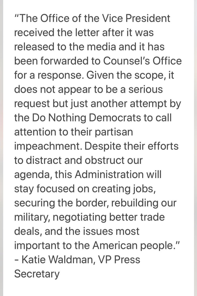 """VP office on House Dem request for info: """"it not appear to be a serious request..."""""""