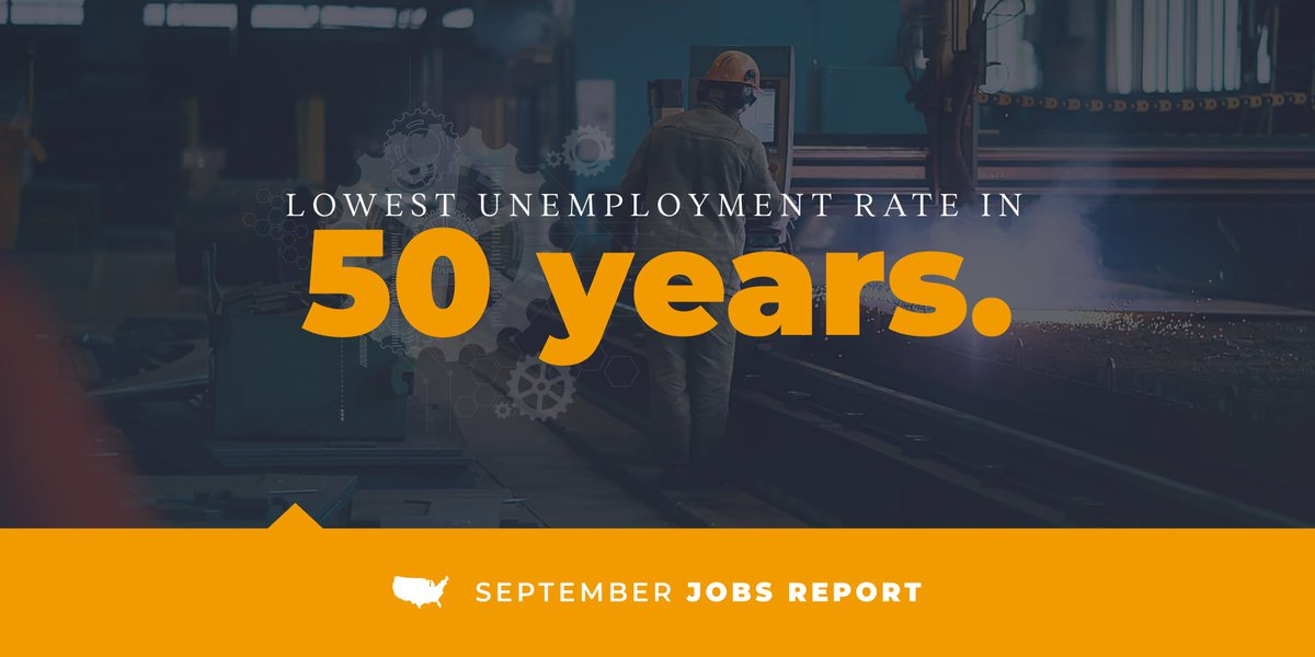 The September jobs report showed the lowest unemployment rate in 50 years, dropping to 3.5% from last month. Proud to see our nation's economy is continuing to thrive!