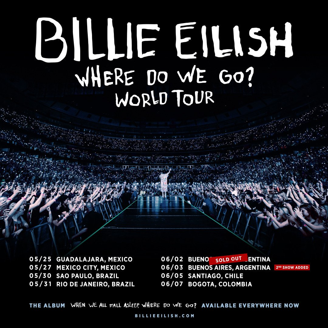 Argentina: Billies show in Buenos Aires on June 2 has sold out. Due to overwhelming demand, an additional Buenos Aires show has been added on June 3. Tickets are available now. allaccess.com.ar/event/billie-e…