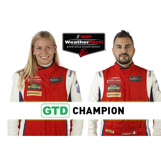 Petite Le Mans is coming - a little throwback to 2016 when @alessandro_balzan and I locked in the championship with @scuderia.corsa. Now I might be wearing heels in one photo but this was the most epic photoshop effort by @imsa_racing in their entire history of champions 😂!
