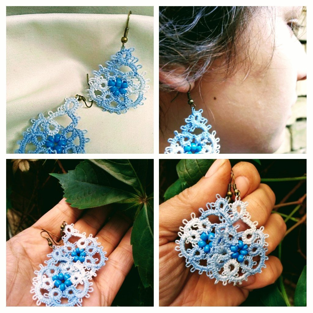 Blue earrings👧🌻♥️  #tatting #frivolite #chiacchierino #lace #blueearrings #marikoart