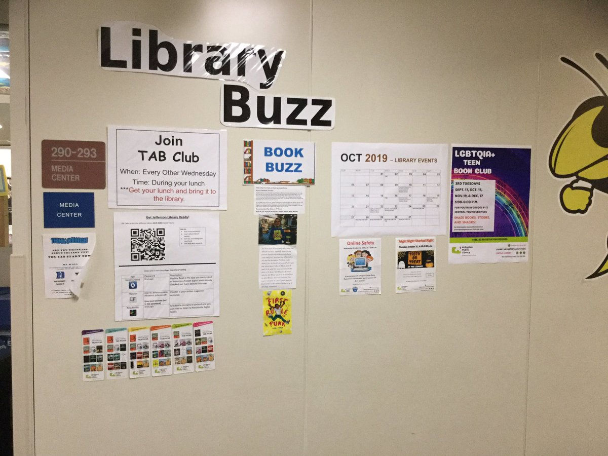 Check out our new information station with a calendar of library events, student book reviews, and TAB list recommendations. <a target='_blank' href='http://twitter.com/APSLibrarians'>@APSLibrarians</a> <a target='_blank' href='http://twitter.com/JeffersonIBMYP'>@JeffersonIBMYP</a> <a target='_blank' href='http://twitter.com/ArlingtonVALib'>@ArlingtonVALib</a> <a target='_blank' href='http://search.twitter.com/search?q=tjmsrocks'><a target='_blank' href='https://twitter.com/hashtag/tjmsrocks?src=hash'>#tjmsrocks</a></a> <a target='_blank' href='http://search.twitter.com/search?q=jeffersonreads'><a target='_blank' href='https://twitter.com/hashtag/jeffersonreads?src=hash'>#jeffersonreads</a></a> <a target='_blank' href='http://search.twitter.com/search?q=firstruleofpunk'><a target='_blank' href='https://twitter.com/hashtag/firstruleofpunk?src=hash'>#firstruleofpunk</a></a> <a target='_blank' href='http://search.twitter.com/search?q=studentbookreviews'><a target='_blank' href='https://twitter.com/hashtag/studentbookreviews?src=hash'>#studentbookreviews</a></a> <a target='_blank' href='http://search.twitter.com/search?q=TABbooks'><a target='_blank' href='https://twitter.com/hashtag/TABbooks?src=hash'>#TABbooks</a></a> <a target='_blank' href='https://t.co/STdqgFQRIA'>https://t.co/STdqgFQRIA</a>