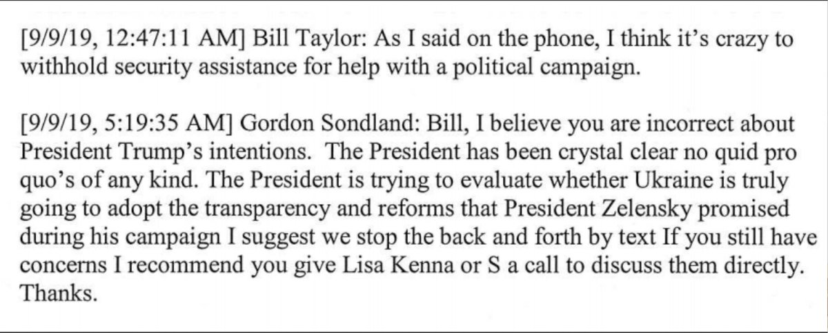 Todays @WSJ scoop makes clear that Sondlands reply wasnt intended for Bill Taylor, the top American diplomat in Ukraine. It was intended for the investigators he had every reason to suspect would soon be on their tail. wsj.com/articles/trump…