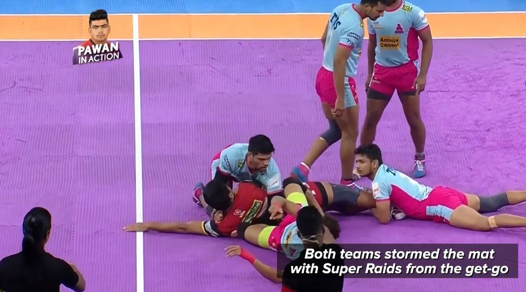 When the going got tough - @JaipurPanthers got going and secured a win in #JAIvBLR to keep their Playoffs hopes alive!   Here's the match in 30s for you.   ⚔️ - #VIVOProKabaddi ⌚️ - Every day, 7 PM onwards 📺 - Star Sports and Hotstar!  #IsseToughKuchNahi