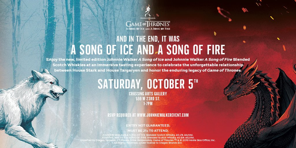 "New York Comic Con!  Come celebrate the enduring legacy of @GameOfThrones at the ""Johnnie Walker A Song of Ice and A Song of Fire"" tasting experience on Saturday, October 5th. RSVP required. Must be 21+. #JWSONGOFICE #JWSONGOFFIRE  http:// bit.ly/31O1aTX     <br>http://pic.twitter.com/BdC6IEhpNW"