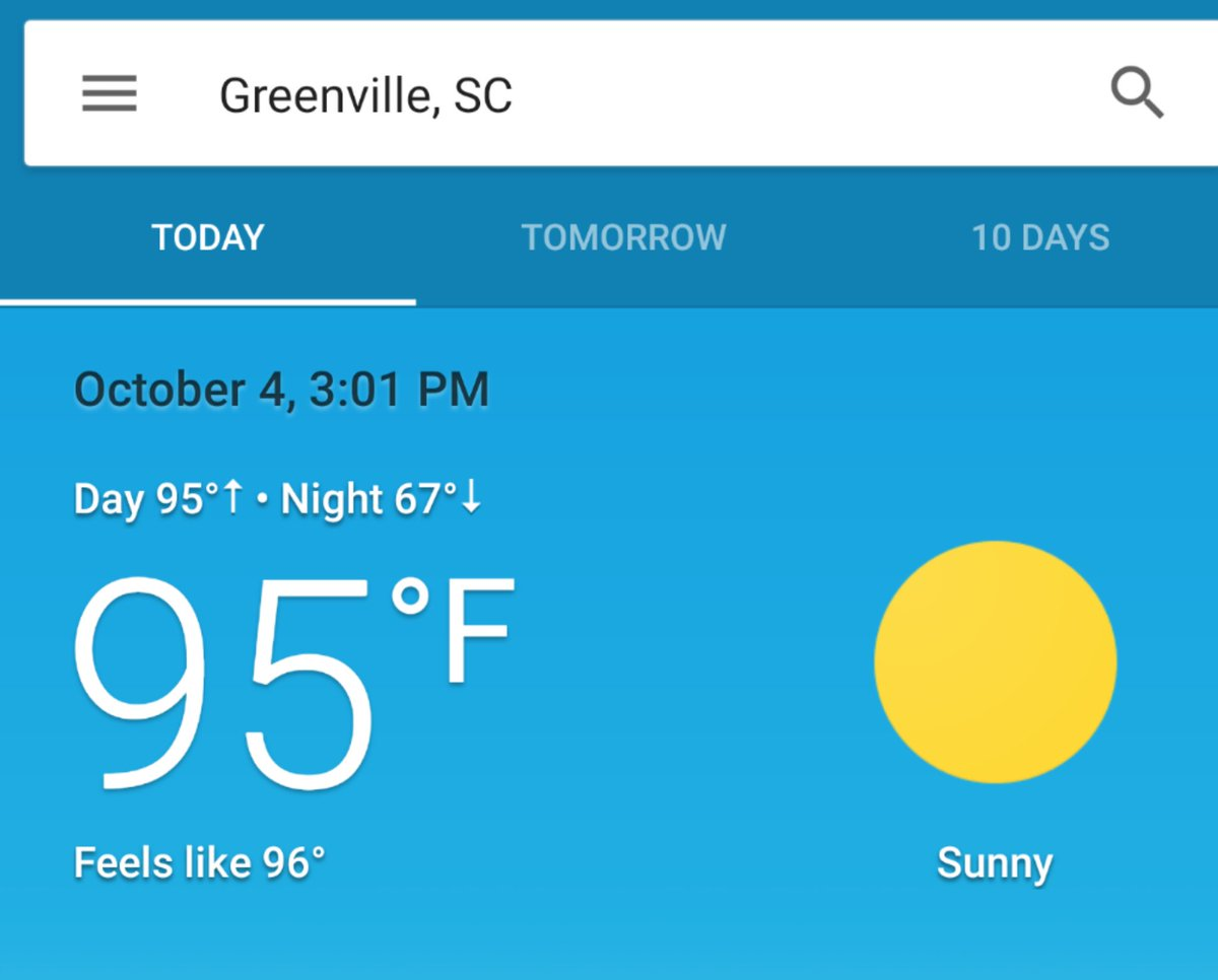Halloween is coming. Unless you're in SC where all the swimming pools are reopening. #HEATWAVE2019 #yeahthatgreenville