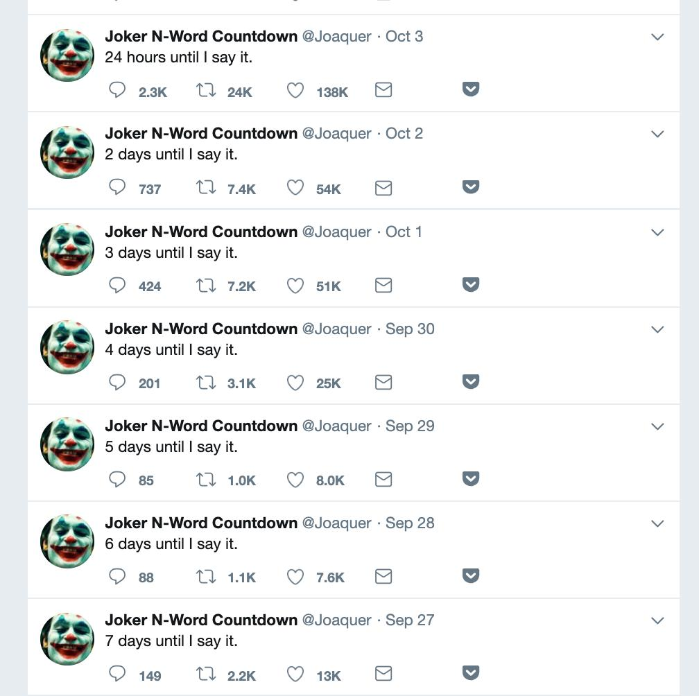 Ryan Broderick On Twitter Big Drama Today In The 8chan Refugee Community An Account Called Joker N Word Countdown Has Been Teasing That They D Say The N Word On Camera To Celebrate The Joker