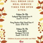 Image for the Tweet beginning: Fall Break/Intersession servings start on