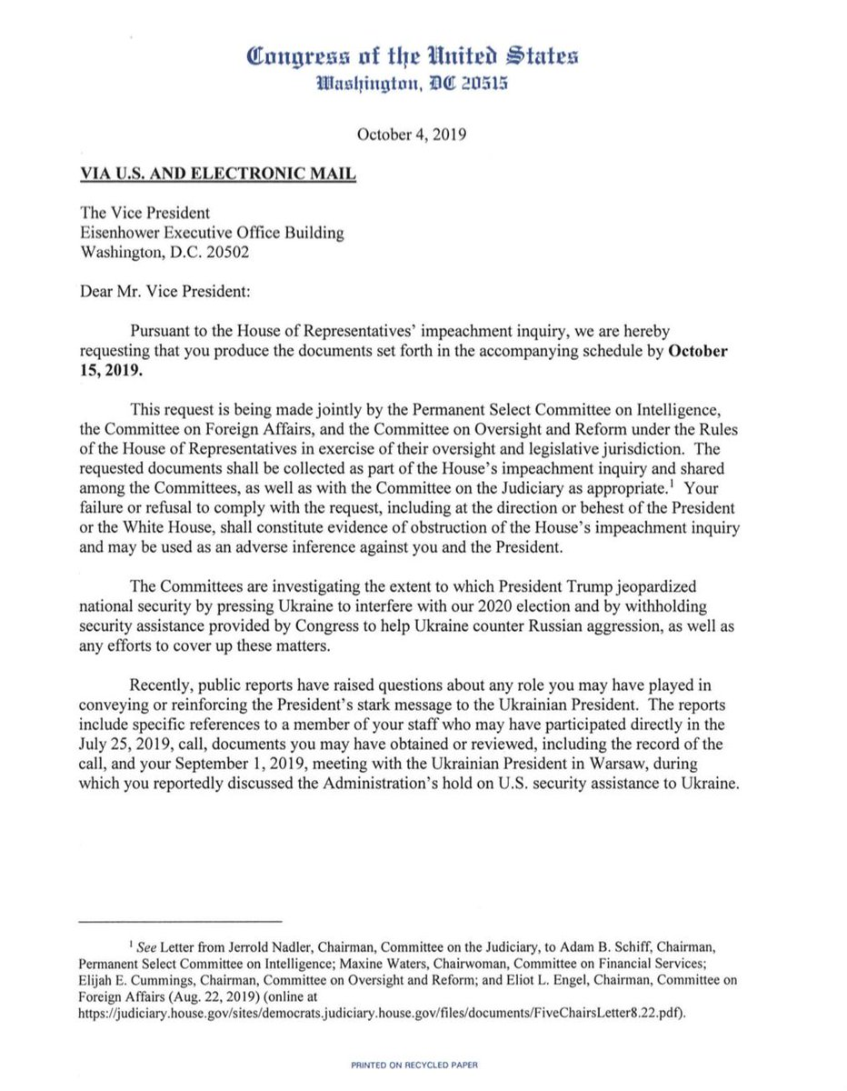 Recently, public reports have raised questions about any role you might have played in conveying or reinforcing the Presidents stark message to the Ukrainian President. House Dems send Pence a demand for docs related to his participation with Ukraine. oversight.house.gov/sites/democrat…