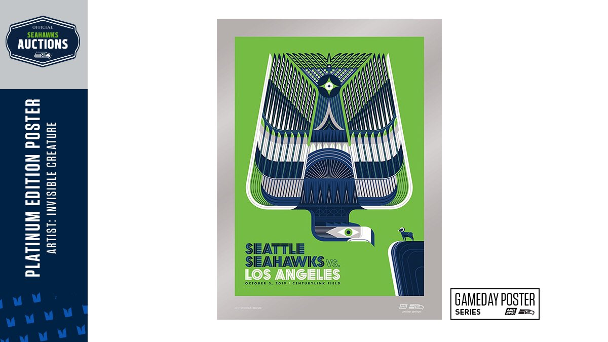Seahawks Pro Shop On Twitter New Items Up For Auction Tgbif We Have 12 Platinum Edition Posters Available To Bid On From Our Gameday Series The 3rd Poster Features Artwork From Icreature