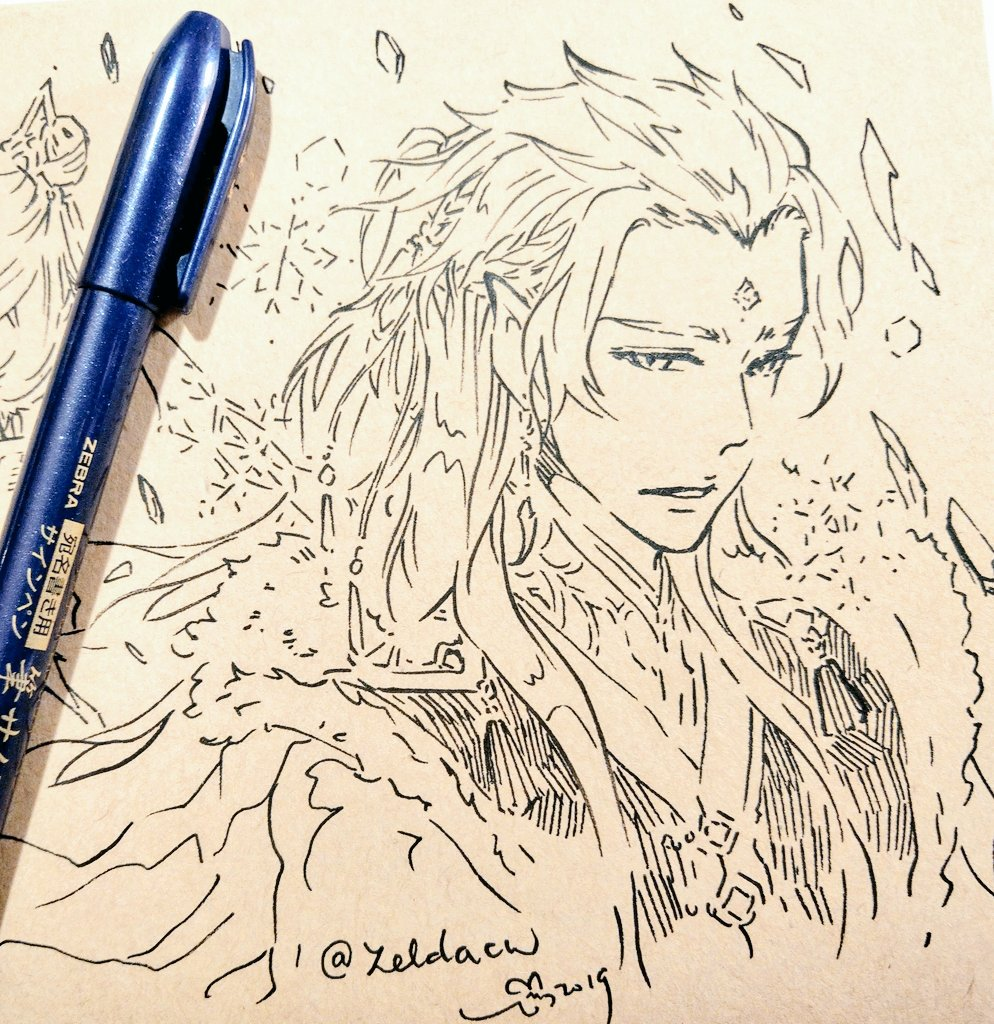 first time drawing my #Mobeijun design (。・ω・。) for #inktoberday4 freeze ❄❄❄