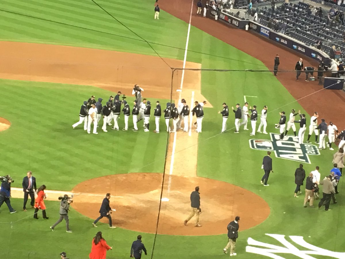@Yankees celebrating game one win over Twins in #ALDS. Final is 10-4. @wcbs880