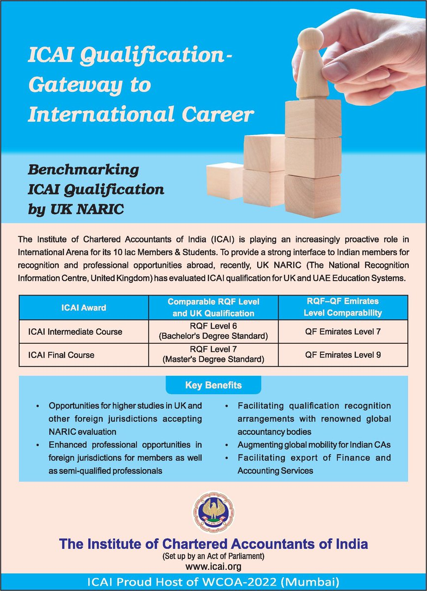 A door open for CA in UK and UAE after ICAI qualification been recognised by UK NARIC . Now it's turn of UGCA.. @HRDMinistry