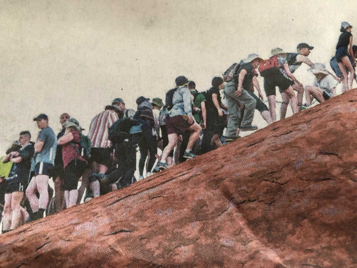 Pink flesh against red rock as thousands of white people flock to climb #Uluru, oblivious to the pleas of Indigenous Australians not to do so. https://t.co/CsMaLDU1Dl
