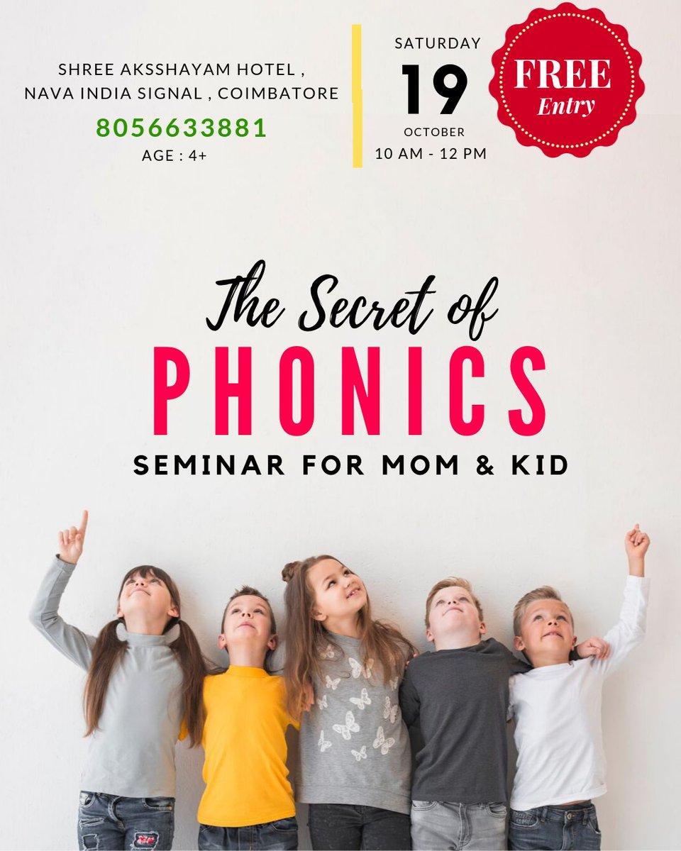 @coimbatore The Secrets of Phonics - A Free Seminar for Mom & Kid WhatsApp to Know More https://wa.me/918056633881  #coimbatore #coimbatoreevents #parents #momentumwei #momentumcoimbatorepic.twitter.com/aKioDr7RCg