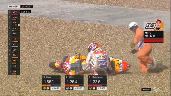Marc Marquez terjatuj saat menjalani sesi kualifikasi MotoGP Thailand 2019, Sabtu (5/10/2019).