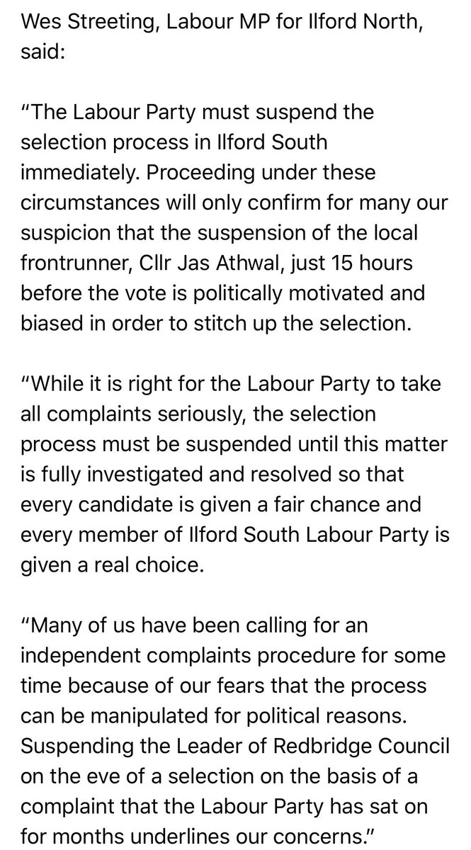 I thought nothing could shock me about how the powers that be operate, but I was wrong. The Ilford South selection is a new low. Here is my statement on the suspension of the Leader of the Council 15 hours before the vote. The selection must be suspended until this is resolved.