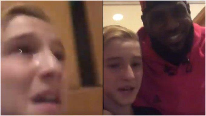 【影片】小球迷酒店大廳偶遇James激動落淚,後者友好合拍影片