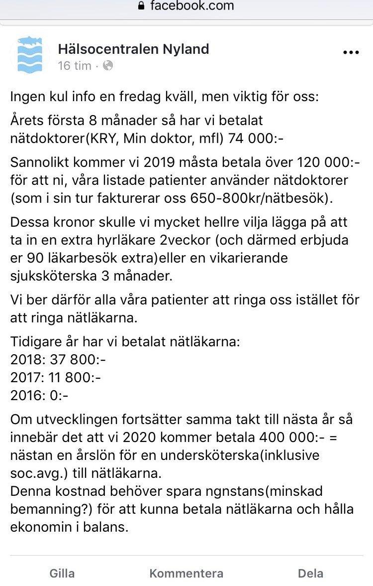 Beskrivande om hur lurendrejeriet med nätläkare drabbar en enskild vårdcentral. Betänk då att det finns uppskattningsvis 1000 vårdcentraler i Sverige. Jag anser att nätläkarbolagen måste stoppas skyndsamt.